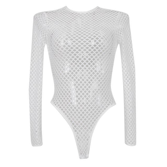 >Maille serrée à manches longues bodywear shapewear une pièce maillot de bain l blanc