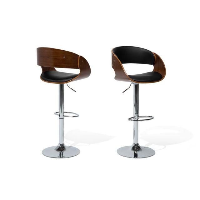 Beliani tabouret de bar chaise de bar design couleur bois naturel baku marron pas cher for Tabouret bar couleur
