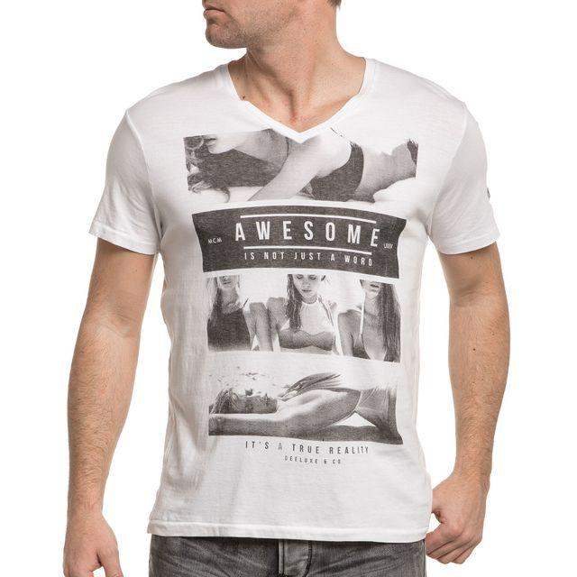 Deeluxe - Tee-shirt blanc col V imprimé -