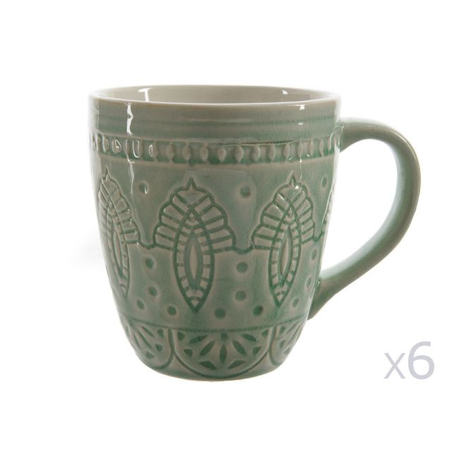 Decoris Mug à anse motif à relief D.9xH.10cm - Lot de 6 Gayel - Mint