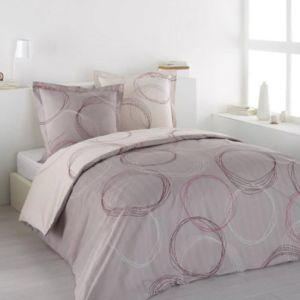 vision housse de couette 220x240 2 taies lenny pink 100 coton 57fils pas cher achat. Black Bedroom Furniture Sets. Home Design Ideas