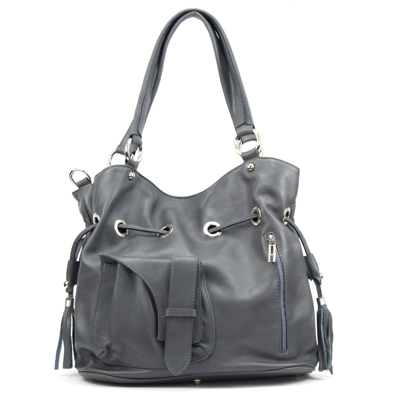 9f54ab1dcb OH MY BAG- Sac à Main cuir souple - Modèle Champs-Elysées gris foncé