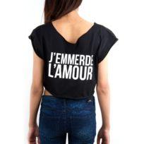 Fake - paris - Croptop t-shirt noir J'emmerde L'amour
