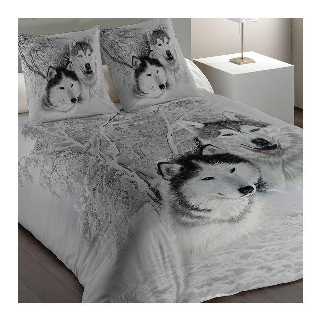 eminza housse de couette et deux taies 240 cm husky pas cher achat vente housses de. Black Bedroom Furniture Sets. Home Design Ideas