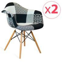 Novara Mobili - Pack 2 chaises Arms Wood Style Patchwork B/W Shadow avec pieds en bois de hêtre