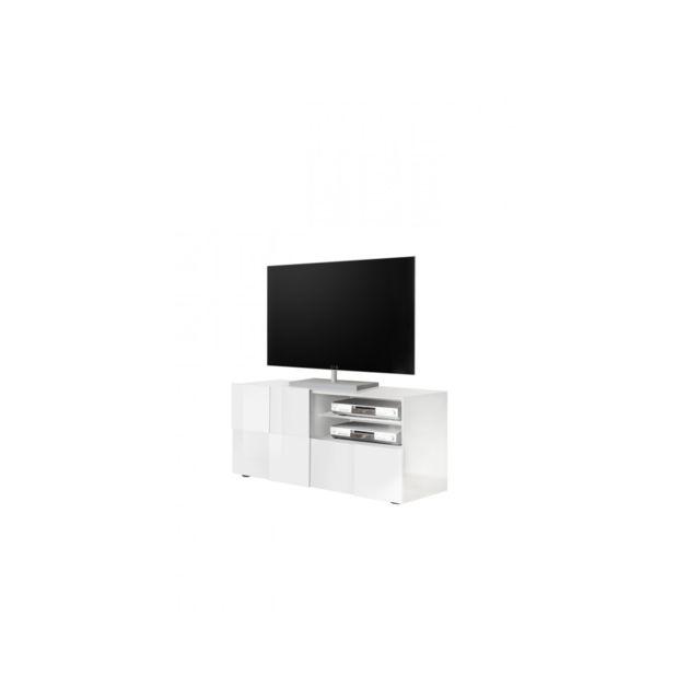 Subleem Meuble Tv petit 1 porte 1 tiroir Altamura blanc laqué brillant