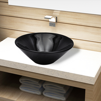 Vidaxl - Vasque rond céramique Noir pour salle de bain