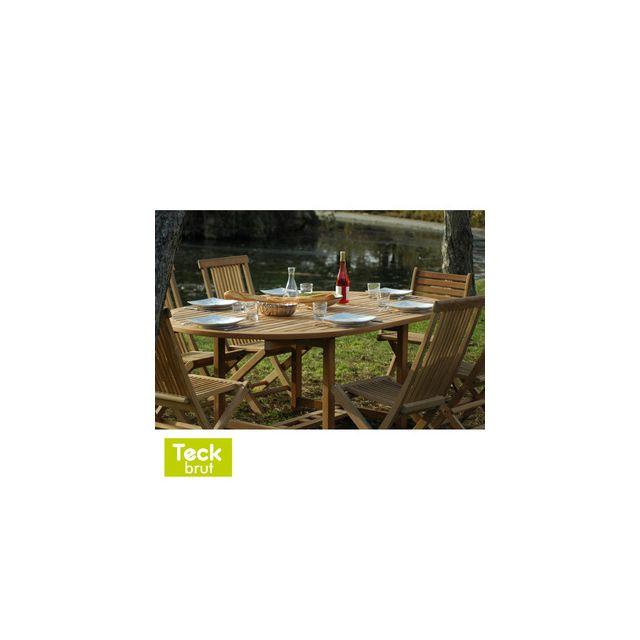 Table de jardin ronde extensible Teck Brut 120/170x120cm ...