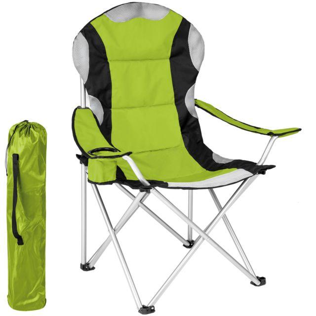 1 Chaise Pliante De Plage De Camping Avec Porte Boisson Sac De Transport Vert Noir