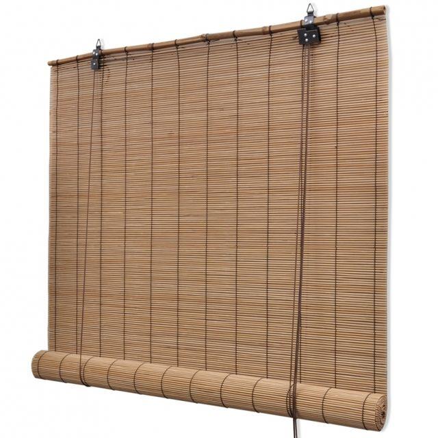 Helloshop26 Store Enrouleur Bambou Brun 140 X 160 Cm Fenêtre