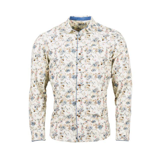 Lee Cooper Chemise ajustée Deato en coton blanc cassé à motifs floraux