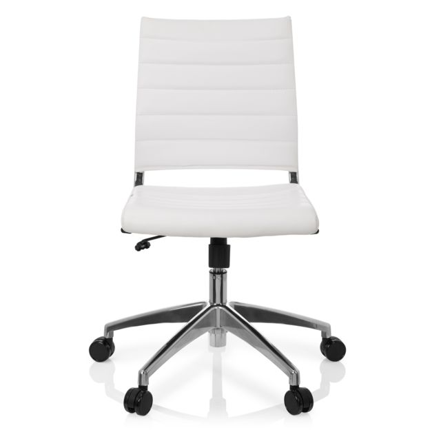 Chaise de bureau Chaise pivotante Trisha simili cuir blanc