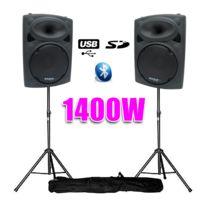 "Ibiza - Enceintes amplifiées 12"" 30cm 1400W Usb/BT + pieds"