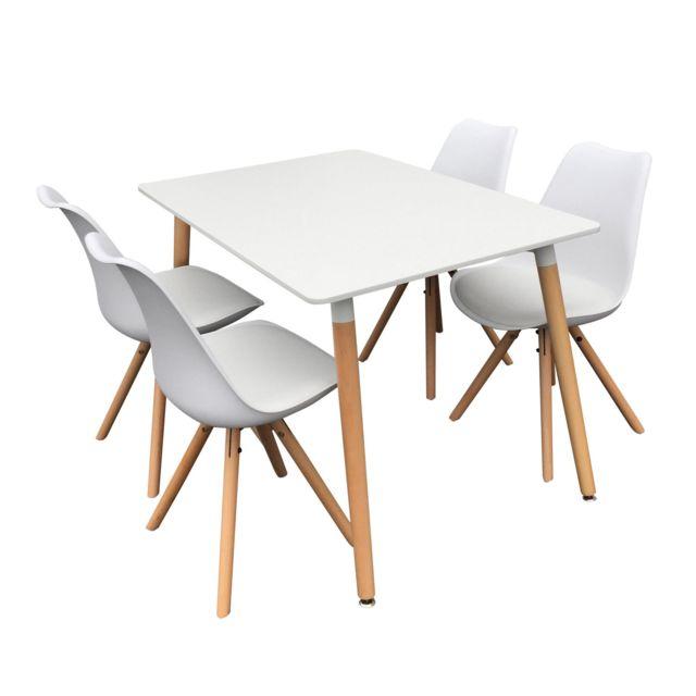 Happy Garden Ensemble Table Et Chaises Scandinave Rita Blanc Pas