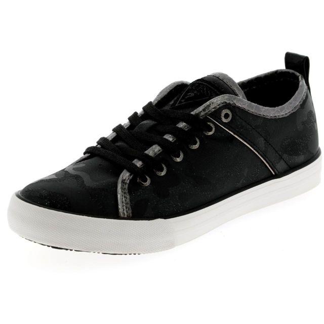 1e6ccaea789f Guess - Chaussures basses toile Sunny gym camo black lady Noir 46777 - pas  cher Achat   Vente Baskets femme - RueDuCommerce
