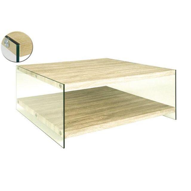 Inside 75 Table basse Nina en verre et chêne clair
