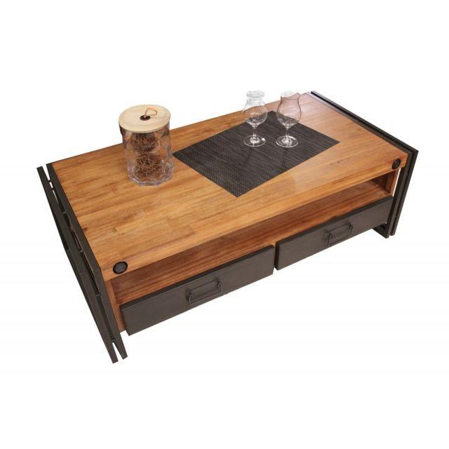 meubletmoi table basse style industriel 2 tiroirs et niche workshop bois 60cm x 120cm. Black Bedroom Furniture Sets. Home Design Ideas