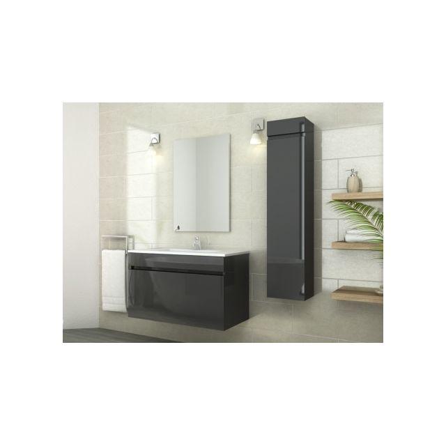 Marque generique ensemble kahi meubles de salle de bain simple vasque avec colonne laqu for Marque meuble salle de bain
