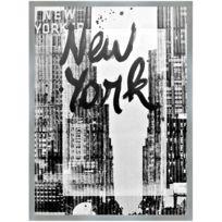 Promobo - Tableau Toile Cadre Imprimé Rétro New York Encadrement Argenté 60 x 80cm