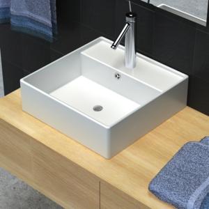 Vidaxl - Luxueuse vasque céramique carrée avec trop plein 41 x cm
