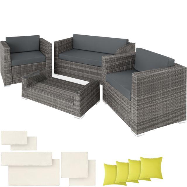 Salon de jardin MUNICH 2 Fauteuils 1 Canapé 1 Table en Résine Tressée  structure Aluminium Gris