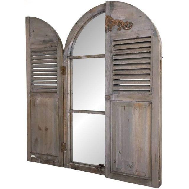 Chemin De Campagne Grand Miroir Fenêtre à Volet En Bois