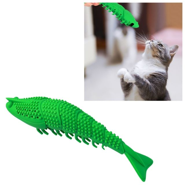 Wewoo Cataire Fish Bite Dentshing Stick Funny Cat Toy Brosse à dents pour animaux de compagnie