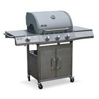 - Barbecue au gaz Richelieu Inox, 4 brûleurs dont 1 feu latéral 14kW, côté grill et plancha, cuisine extérieure