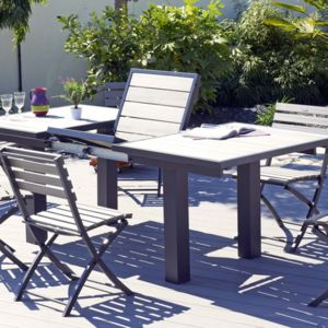 Dcb garden salon de jardin table rallonge papillon 4 - Table de jardin en composite avec rallonge ...