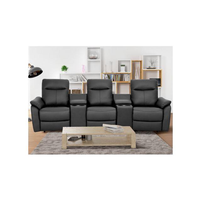LINEA SOFA - Canapé 3 places relax électrique en cuir supérieur HOBRO -  Anthracite 351e60d9893d