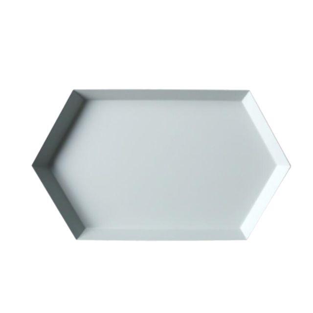 Plateau de rangement en métal coloré polygonal Bureau plateau de rangement gris