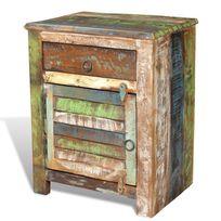 Vimeu-Outillage - Table de chevet vintage Multicolore 1 tiroir 1 porte