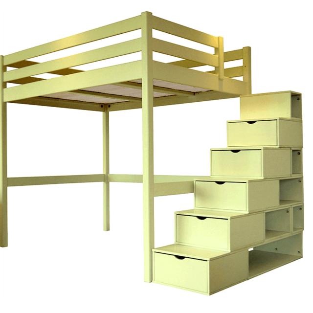 Abc Meubles Lit Mezzanine Sylvia Avec Escalier Cube Pin