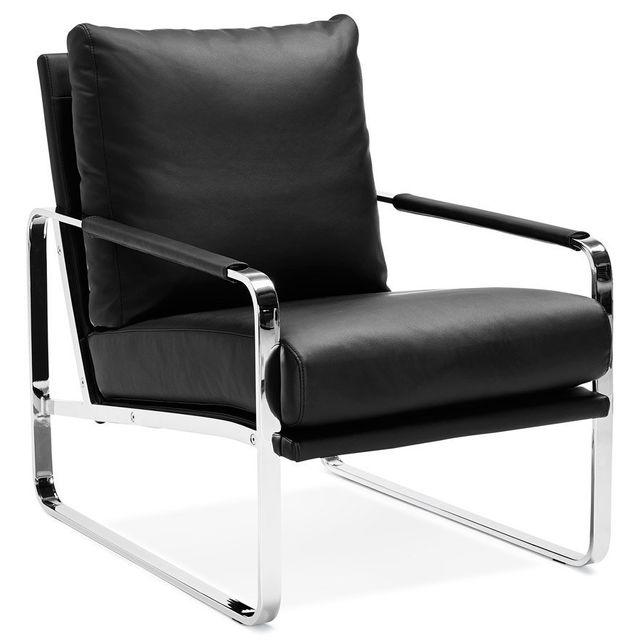 Alterego Fauteuil lounge 'GEORGE' noir confortable