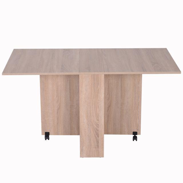 Homcom Table Pliante De Cuisine Salle A Manger Amovible Sur