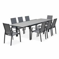 Salon de jardin table extensible - Washington Gris foncé - Table en  aluminium 200/300cm, plateau en verre dépoli, rallonge et 8 fauteuils en  textilène