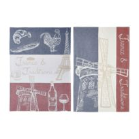Coucke - Lot de 2 torchons France et Traditions en Coton Multicolore - 50 x 75 cm