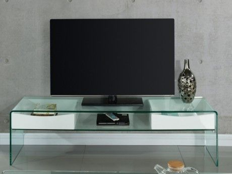 VENTE-UNIQUE - Meuble TV ABBY - 2 tiroirs - MDF laqué et verre ...