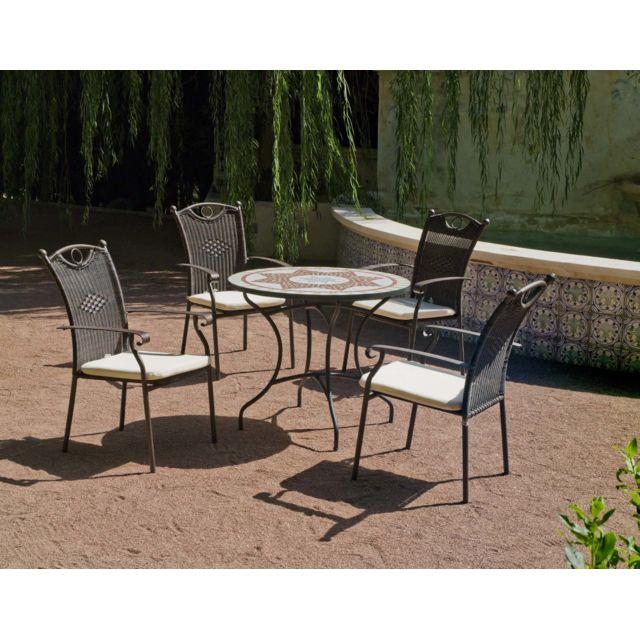 Salon de jardin résine métal et mosaïque Aney Beldey