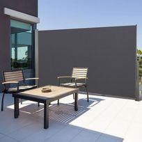 IDMARKET - Paravent extérieur rétractable 300x160cm gris anthracite store vertical