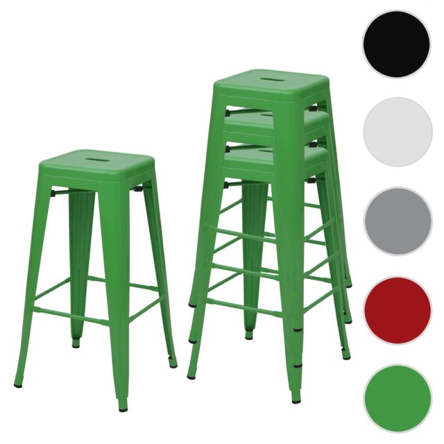 Mendler 4x tabouret de bar Hwc-a73, chaise de comptoir, métal, empilable, design industriel ~ vert