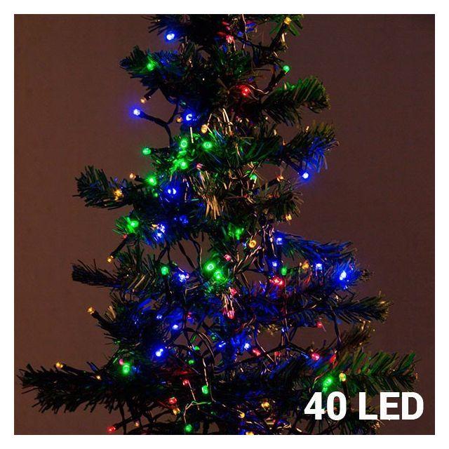 Totalcadeau Guirlande de Noël électrique et lumineuse à 40 Led colorées - Décoration