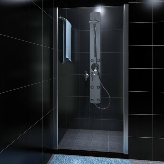Rocambolesk - Superbe Porte de douche pivotante verre sécurit transparent 80cm Neuf