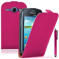 Vcomp - Housse Coque Etui Cuir Pu Vrai pour Samsung Galaxy Trend Lite S7390/ Galaxy Fresh Duos S7392 + stylet - Rose