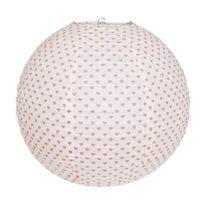 Alinéa - Boule coeur Boule japonaise blanche motifs curs roses D40cm