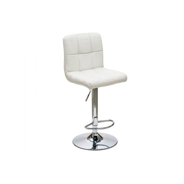 Inside 75 Chaise de bar Jazz design en tissu enduit polyuréthane simili façon cuir blanc