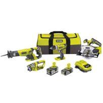 Ryobi - Pack de 4 outils 18V avec 2 batteries - Rk184