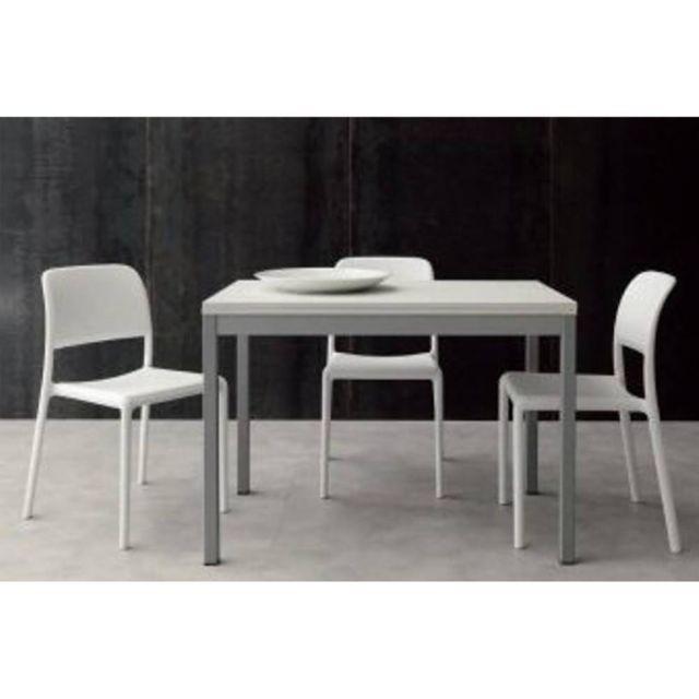Inside 75 Table repas extensible Split 70 140/110 cm blanche