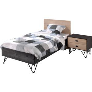 comforium ensemble lit 90x200 cm avec table de chevet 2 tiroirs coloris brun et noir 90cm x. Black Bedroom Furniture Sets. Home Design Ideas