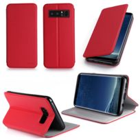 Xeptio - Etui Samsung Galaxy Note 8 rouge Cuir Style avec stand - Housse flip cover coque de protection smartphone 2017 / 2018 Samsung Galaxy Note8 4G - Accessoires pochette case